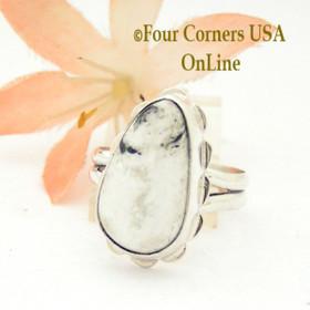 Size 7 3/4 White Buffalo Turquoise Sterling Ring Navajo Artisan Barbara Hemstreet NAR-1772 Four Corners USA OnLine
