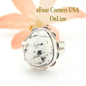 Size 5 1/2 White Buffalo Turquoise Sterling Ring Navajo Artisan Barbara Hemstreet NAR-1781 Four Corners USA OnLine Native American Jewelry