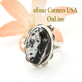 Size 6 1/4 White Buffalo Turquoise Sterling Ring Navajo Artisan Barbara Hemstreet NAR-1782 Four Corners USA OnLine Native American Jewelry