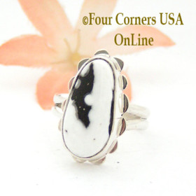 Size 7 White Buffalo Turquoise Sterling Ring Navajo Artisan Barbara Hemstreet NAR-1783 Four Corners USA OnLine Native American Jewelry