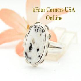 Size 7 White Buffalo Turquoise Sterling Ring Navajo Artisan Barbara Hemstreet NAR-1784 Four Corners USA OnLine Native American Jewelry