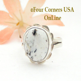 Size 7 White Buffalo Turquoise Sterling Ring Navajo Artisan Barbara Hemstreet NAR-1785 Four Corners USA OnLine Native American Jewelry