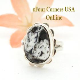 Size 8 White Buffalo Turquoise Sterling Ring Navajo Artisan Barbara Hemstreet NAR-1786 Four Corners USA OnLine Native American Jewelry