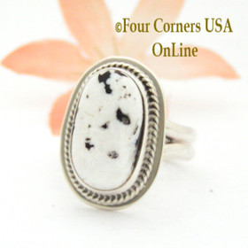 Size 7 3/4 White Buffalo Turquoise Sterling Ring Navajo Artisan Lester Jackson NAR-1787 Four Corners USA OnLine Native American Jewelry
