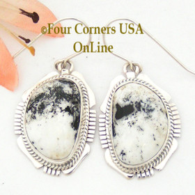 White Buffalo Turquoise Sterling Earrings Navajo Artisan Kathy Yazzie NAER-1517 Four Corners USA OnLine Native American Jewelry