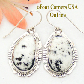 White Buffalo Turquoise Sterling Earrings Navajo Artisan Kathy Yazzie NAER-1518 Four Corners USA OnLine Native American Jewelry