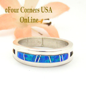 Size 10 Blue Fire Opal Inlay Band Ring Native American Wilbert Muskett Jr WB-1672 Four Corners USA OnLine Navajo Silver Jewelry