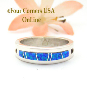 Size 10 1/2 Blue Fire Opal Inlay Ring Native American Wilbert Muskett Jr WB-1673 Four Corners USA OnLine Navajo Silver Jewelry