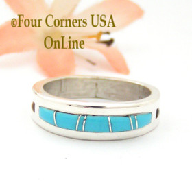 Size 10 Turquoise Inlay Band Ring Native American Artisan Wilbert Muskett Jr WB-1674 Four Corners USA OnLine Navajo Silver Jewelry