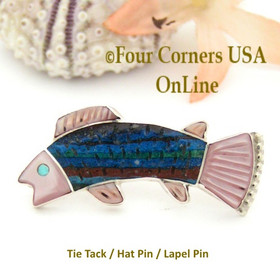 Inlay Fish Tie Tack Lapel Hat Pin Zuni Pueblo Sterling Silver Jewelry NAM-1426 Four Corners USA OnLine