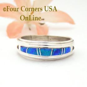 Size 9 Blue Fire Opal Inlay Band Ring Navajo Wilbert Muskett Jr WB-1677 Four Corners USA OnLine Native American Jewelry
