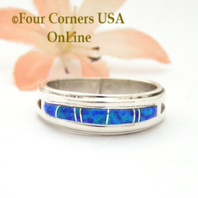 Size 9 1/2 Blue Fire Opal Inlay Band Ring Navajo Wilbert Muskett Jr WB-1678 Four Corners USA OnLine Native American Jewelry