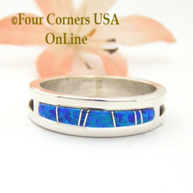 Size 11 Blue Fire Opal Inlay Band Ring Navajo Wilbert Muskett Jr WB-1679 Four Corners USA OnLine Native American Wedding Jewelry