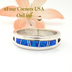 Size 12 Blue Fire Opal Inlay Alternative Wedding Band Ring Navajo Wilbert Muskett Jr WB-1681 Four Corners USA OnLine Native American Jewelry