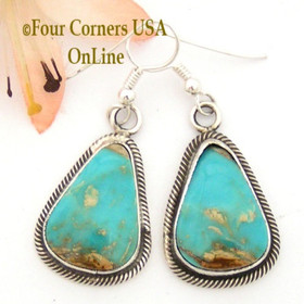 Pilot Mountain Turquoise Sterling Earrings Navajo Artisan Rick Martinez NAER-1519 Four Corners USA OnLine Native American Jewelry Store