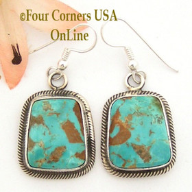 Pilot Mountain Turquoise Sterling Earrings Navajo Artisan Rick Martinez NAER-1520 Four Corners USA OnLine Native American Jewelry Store