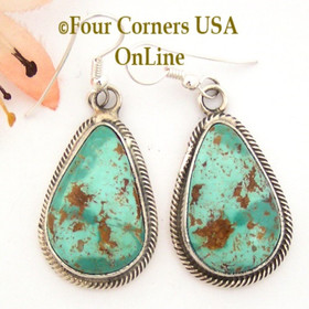 Pilot Mountain Turquoise Sterling Earrings Navajo Artisan Rick Martinez NAER-1521 Four Corners USA OnLine Native American Jewelry Store