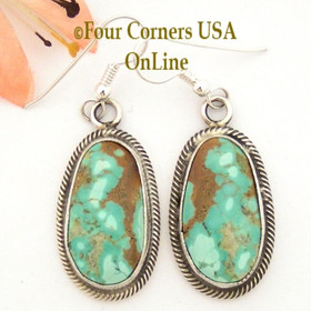 Pilot Mountain Turquoise Sterling Earrings Navajo Artisan Rick Martinez NAER-1522 Four Corners USA OnLine Native American Jewelry Store