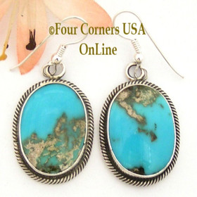 Pilot Mountain Turquoise Sterling Earrings Navajo Artisan Rick Martinez NAER-1523 Four Corners USA OnLine Native American Jewelry Store