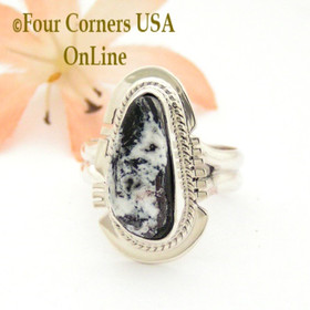 Size 7 White Buffalo Turquoise Sterling Silver Ring Navajo Artisan Larson L Lee NAR-1812 Four Corners USA OnLine Native American Jewelry