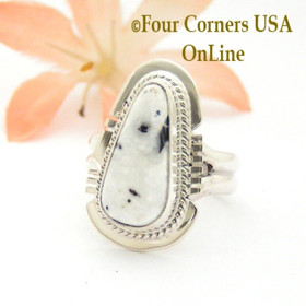 Size 5 1/2 White Buffalo Turquoise Sterling Silver Ring Navajo Artisan Larson L Lee NAR-1814 Four Corners USA OnLine Native American Jewelry