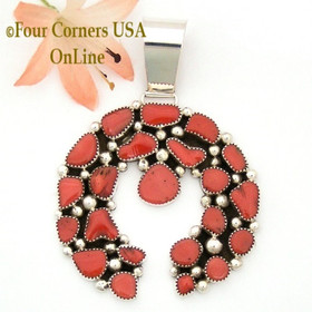 Coral Sterling Naja Pendant Navajo Artisan Kenneth Jones NAP-1617 Four Corners USA OnLine Native American Jewelry