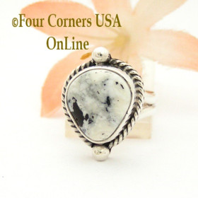 Size 5 White Buffalo Turquoise Stone Sterling Silver Ring NAR-1820 Four Corners USA OnLine Native American Navajo Jewelry