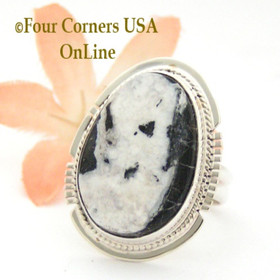 Size 7 1/2 White Buffalo Turquoise Sterling Silver Ring Navajo Artisan Larson L Lee NAR-1821 Four Corners USA OnLine Native American Jewelry