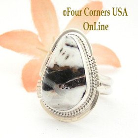 Size 7 White Buffalo Turquoise Sterling Silver Ring Navajo Artisan Larson L Lee NAR-1822 Four Corners USA OnLine Native American Jewelry