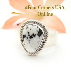 Size 8 White Buffalo Turquoise Ring by Navajo Artisan Joe Piaso Jr NAR-1828 Four Corners USA OnLine Native American Silver Jewelry