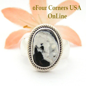 Size 8 White Buffalo Turquoise Ring by Navajo Artisan Joe Piaso Jr NAR-1833 Four Corners USA OnLine Native American Jewelry