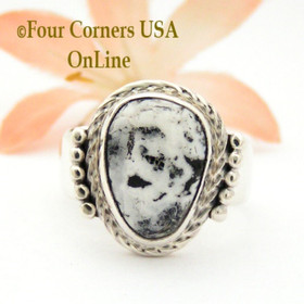 Size 8 3/4 White Buffalo Turquoise Ring by Navajo Artisan Joe Piaso Jr NAR-1836 Four Corners USA OnLine Native American Jewelry