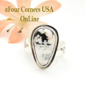 Size 7 White Turquoise Sterling Ring Navajo Artisan Freddy Charley NAR-1838 Four Corners USA OnLine Native American Jewelry