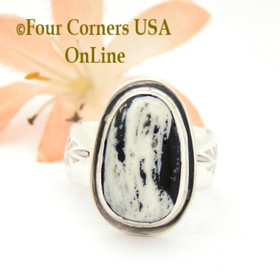 Size 7 1/2 White Turquoise Sterling Ring Navajo Artisan Freddy Charley NAR-1839 Four Corners USA OnLine Native American Jewelry