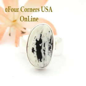 Size 7 White Turquoise Sterling Ring Navajo Artisan Joe Piaso Jr NAR-1841 Four Corners USA OnLine Native American Jewelry