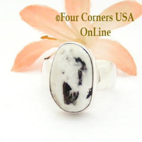 Size 7 White Turquoise Sterling Ring Navajo Artisan Joe Piaso Jr NAR-1842 Four Corners USA OnLine Native American Jewelry