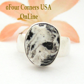Size 8 White Turquoise Sterling Ring Navajo Artisan Joe Piaso Jr NAR-1844 Four Corners USA OnLine Native American Jewelry