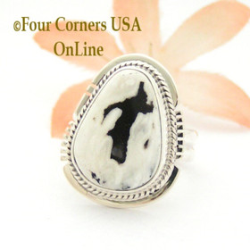 Size 6 3/4 White Buffalo Turquoise Sterling Silver Ring Navajo Artisan Larson L Lee NAR-1846 Four Corners USA OnLine Native American Jewelry