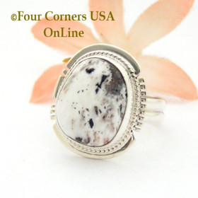Size 8 3/4 White Buffalo Turquoise Sterling Silver Ring Navajo Artisan Larson L Lee NAR-1851 Four Corners USA OnLine Native American Jewelry