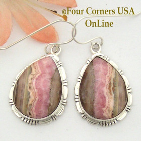 Chocolate Rhodochrosite Sterling Earrings Navajo Artisan Robert Concho NAER-1528 Four Corners USA OnLine Native American Jewelry