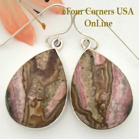 Chocolate Rhodochrosite Sterling Earrings Navajo Artisan Shirley Henry NAER-1529 Four Corners USA OnLine Native American Jewelry