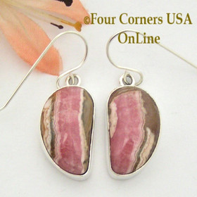 Chocolate Rhodochrosite Sterling Earrings Navajo Artisan Shirley Henry NAER-1530 Four Corners USA OnLine Native American Jewelry