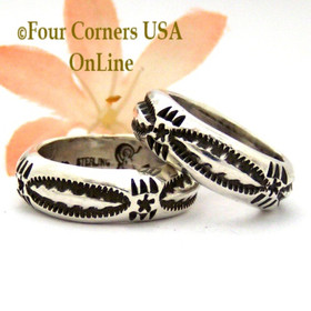 Sizes 6, 6 1/2, 7 1/4 Stamped Silver Band Ring Navajo Artisan Darrell Cadman NAR-1853 Four Corners USA OnLine Native American Jewelry