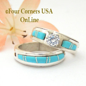 Size 8 Turquoise Engagement Bridal Wedding Ring Set Native American Wilbert Muskett Jr WS-1580 Four Corners USA OnLine Navajo Silver Jewelry