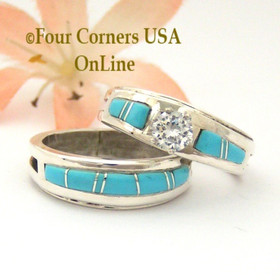 Size 8 Turquoise Engagement Bridal Wedding Ring Set Native American Wilbert Muskett Jr WS-1581 Four Corners USA OnLine Navajo Silver Jewelry