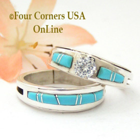 Size 9 Turquoise Engagement Bridal Wedding Ring Set Native American Wilbert Muskett Jr WS-1582 Four Corners USA OnLine Navajo Silver Jewelry