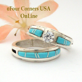 Size 9 Turquoise Engagement Bridal Wedding Ring Set Native American Wilbert Muskett Jr WS-1583 Four Corners USA OnLine Navajo Silver Jewelry