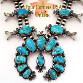 Morenci Turquoise Squash Blossom Necklace Navajo Donovan Cadman NAN-1436 Four Corners USA OnLine Authentic Native American Jewelry