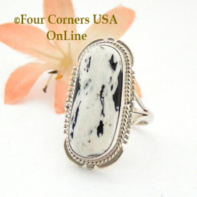 Size 8 1/2 White Buffalo Turquoise Ring Navajo Silversmith Kathy Yazzie NR-1502 Four Corners USA OnLine Authentic Native American Jewelry
