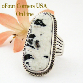 Size 8 1/2 White Buffalo Turquoise Ring Navajo Artisan Tony Garcia NR-1425 Four Corners USA OnLine Authentic Native American Jewelry